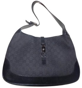 Gucci Black Large Logo Jackie O Chrome Hardware Like New Condition Xl Size Jackie Hobo Bag