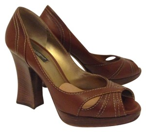 Dolce&Gabbana Geniune Leather Sculptured Chunky Heels Made In Italy Tobacco (tan) Pumps