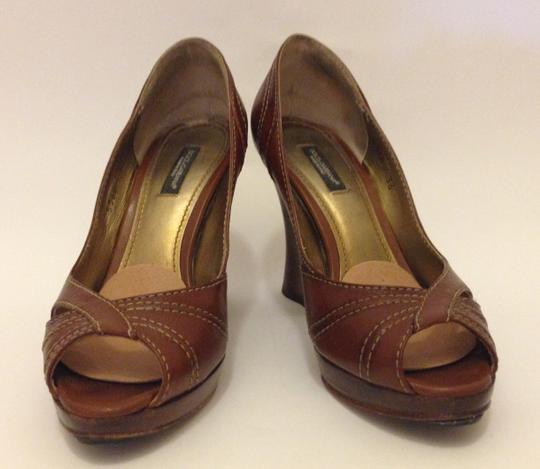 Dolce&Gabbana Geniune Leather Made In Italy Sculptered Heels Tobacco (tan) Pumps