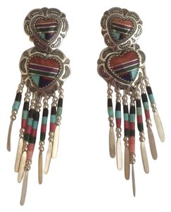 QT Turquoise Sterling silver turquoise, onyx and coral chandelier earring