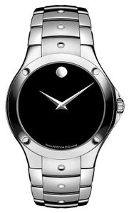 Movado Black Dial Silver tone Stainless Steel Designer MENS Dress Casual Watch