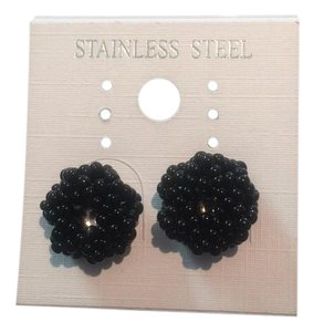Beaded Black Stud Earrings
