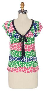 Anthropologie Polka Dot Silk Vintage Retro Anthro Top Multicolor