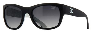 Chanel Chanel Matte Wayfarer Quilted Back Polarized Sunglasses CH6049 (Black and White)