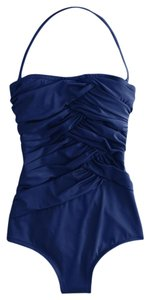 J.Crew New J Crew Assymetrical Ruched Bandeau Tank 6 $98 Blue
