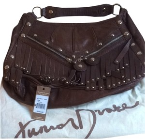 Junior Drake Leather Brown Fringe Studs Hobo Bag