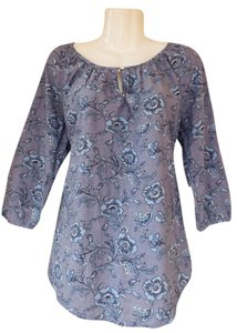Croft & Barrow Oversize Floral Keyhole Cotton Top grey, blue