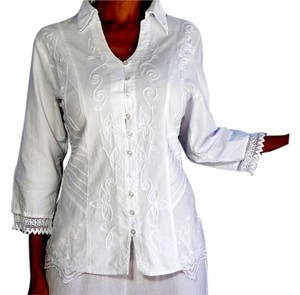 Lirome Boho Western Denim Top White
