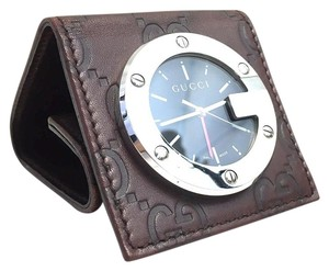 Gucci Gucci #7563 Brown burgundy leather GG guccissima travel clock pocket size