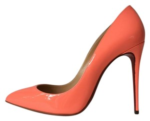 Christian Louboutin Pigalle Follies Peach Flamingo Pink Coral Pumps