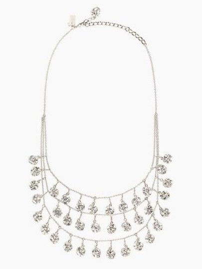 Kate Spade Silver Rhodium Plated with Glass Crystals Lady Marmalade Triple Strand Statement Necklace Image 1