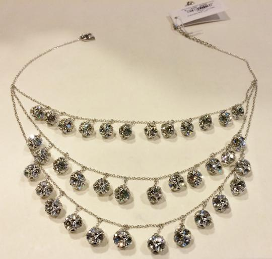 Kate Spade Silver Rhodium Plated with Glass Crystals Lady Marmalade Triple Strand Statement Necklace Image 2