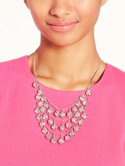 Kate Spade Silver Rhodium Plated with Glass Crystals Lady Marmalade Triple Strand Statement Necklace