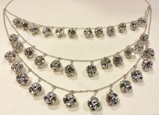 Kate Spade Silver Rhodium Plated with Glass Crystals Lady Marmalade Triple Strand Statement Necklace Image 6