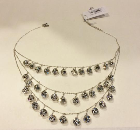 Kate Spade Silver Rhodium Plated with Glass Crystals Lady Marmalade Triple Strand Statement Necklace Image 7