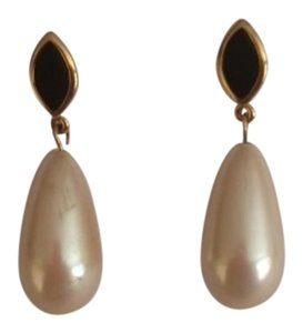 Trifari Vintage Trifari Pearl Teardrop Earring with Gold & Black Accent