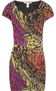 Diane von Furstenberg Silk Pleated Animal Print Mini Dvf Dress