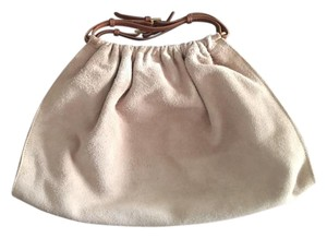 Gucci Suede Off-white Leather Handle Vintage Hobo Bag