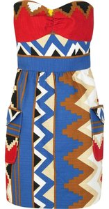 Tibi Shorts Strapless Pockets Dress