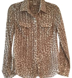 Lucky Brand Button Down Shirt Animal print, brown