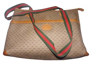 Gucci Extra Large Size Satchel Or Multi-compartment Small G Logo Tote in shades of brown coated canvas/leather & red/green striped straps