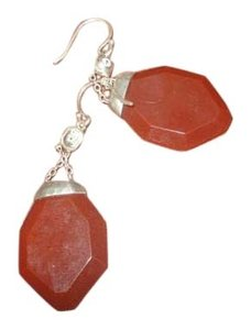 """Silpada Silpada Sterling Silver """"Once In a Vermilion"""" Red Agate Cubic Zirconia earrings W3151"""