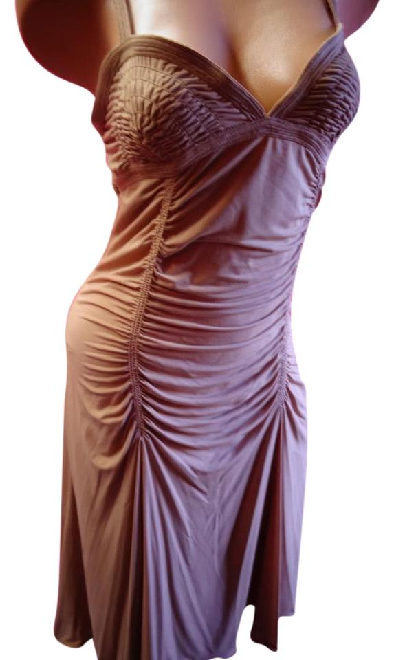 Max Studio Nude Brown Dinner Dance Vintage L Stretchy Gathered ...