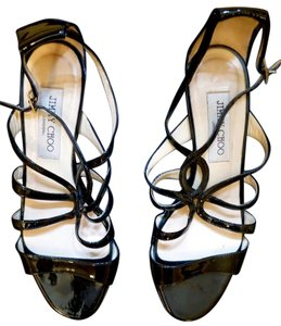 Jimmy Choo Patent Leather Straps Wedge Black Sandals
