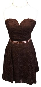 As U Wish Sweetheart Neck Lace Overlay Mini Rhinestones Low Dress