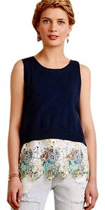 Anthropologie Colorful Lace Hem Top Blue