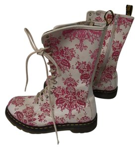 Dr. Martens Mid-calf Lace Up & Zipper Rubber white & Pink Boots