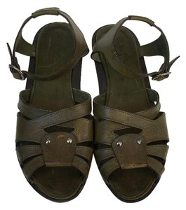 Robert Clergerie Stressed Leather Green Leather Sandals