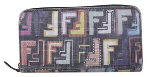 Fendi FENDI ZUCCA Zip Around Long Wallet Multicolored RARE!
