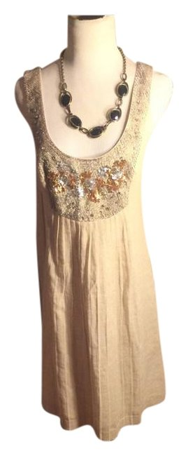 Item - Beige/Gold/Silver/Rhinestone Knee Length Night Out Dress Size 6 (S)