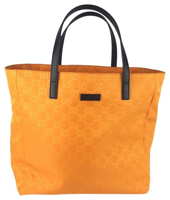 Item - 282439 Gg Embossed ssima Selleria Yellow Tangerine Nylon Tote
