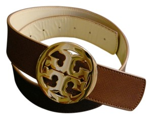 Tory Burch Tory Burch Brown with Big Gold Logo Belt Buckle Women's Spring