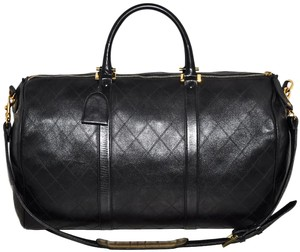Chanel Quilted Duffle Carry On Black Travel Bag