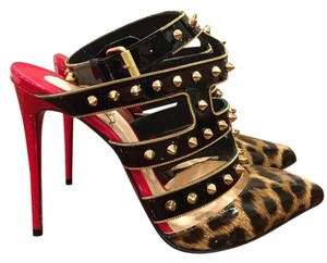 Christian Louboutin Tchicaboum Spike Leopard Red/Black/Leopard Pumps