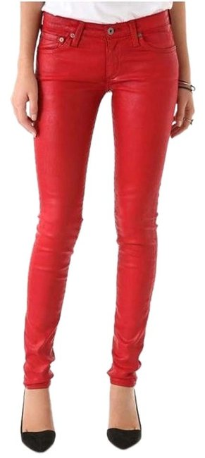 Item - Red Coated Leatherette Legging Skinny Jeans Size 27 (4, S)
