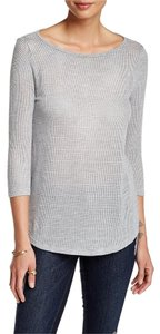 Three Dots Sheer Mesh Stretchy Boatneck 3/4 Sleeves T Shirt Granite