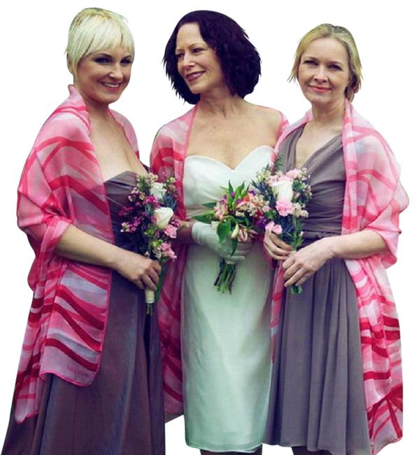 Item - Pink Ruby Red On White Silk Satin 4th July February Love Matching Set Of 3 Couture Wraps Modern Bridesmaid/Mob Dress Size OS (one size)