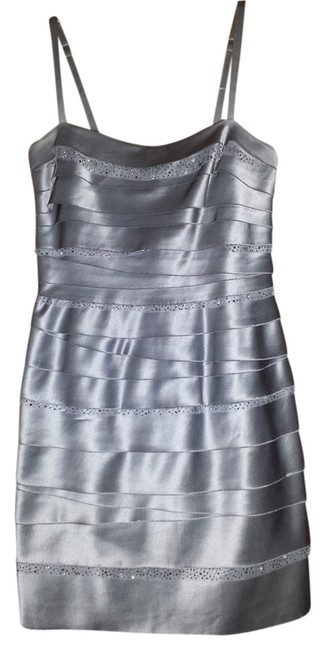 Item - Grey Blue Tiered Short Cocktail Dress Size 4 (S)
