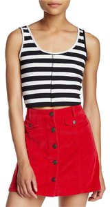 H.I.P. Crop Striped Ribbed Top Licorice-White
