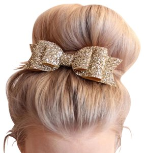 flores Gold glitter bow hair clip