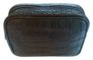 Saks Fifth Avenue Saks Fifth Avenue Black Snake Skin Faux Leather Cosmetics/Makeup Bag