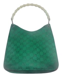Gucci Chrome Hardware 'v' Shaped Top Bamboo Handle Embossed Large G Kelly Green/khaki Hobo Bag