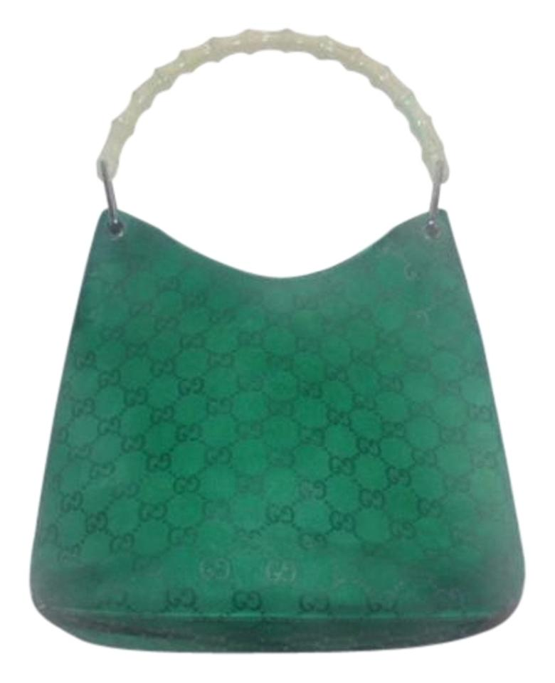 Gucci Chrome Hardware  v  Shaped Top Embossed Kelly Green Khaki Hobo Bag ... 76c0a38d9dd75