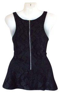 Express Lace Floral Zipper Peplum Top black