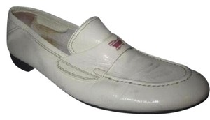Bottega Veneta Patent Leather Loafer Style Perfect For Summer Comfy Classic Dressy Or Casual White with red & blue accent Flats