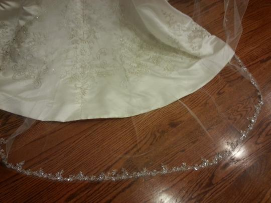 Ansonia Bridal Ivory Long Embroidered Crystal Bridal Veil